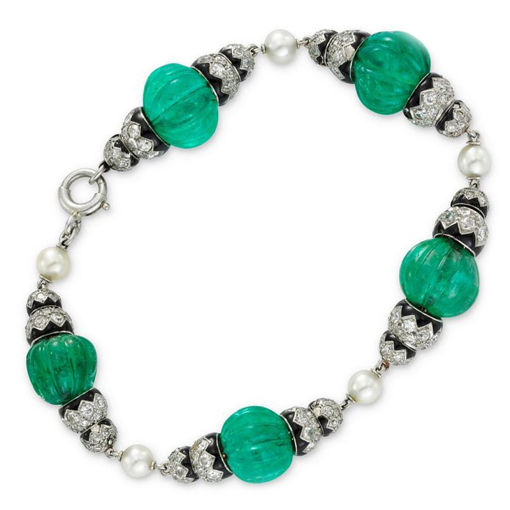 An Art Deco Emerald Bead, Pearl, Enamel and Diamond Bracelet, circa 1925