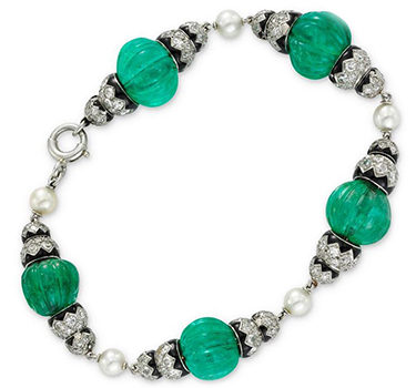 An Art Deco Emerald Bead, Pearl, Enamel And Diamond Bracelet, Circa 1925