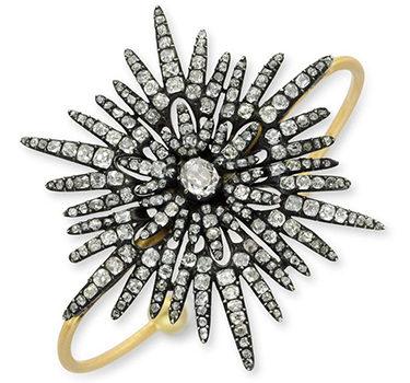 An Old Mine Diamond And Gold Starburst Cuff