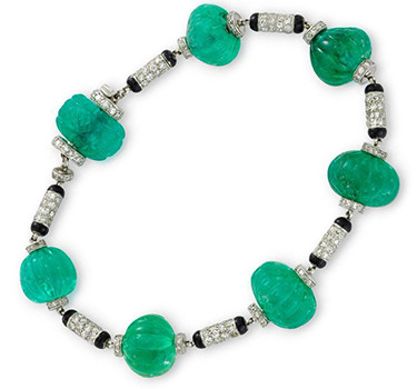 An Art Deco Emerald Bead, Enamel And Diamond Bracelet, Circa 1925