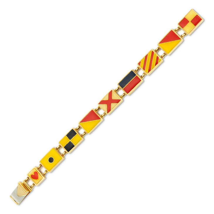 An Early 20th Century Enamel and Gold 'I Love You' Flag Bracelet
