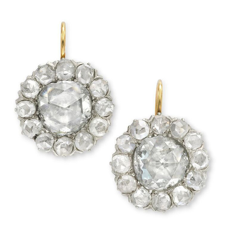 A Pair Of Antique Rose Cut Diamond Cer Earrings
