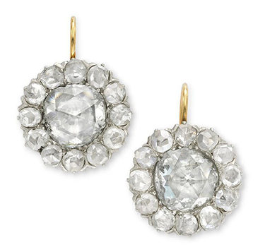 A Pair Of Antique Rose-cut Diamond Cluster Earrings
