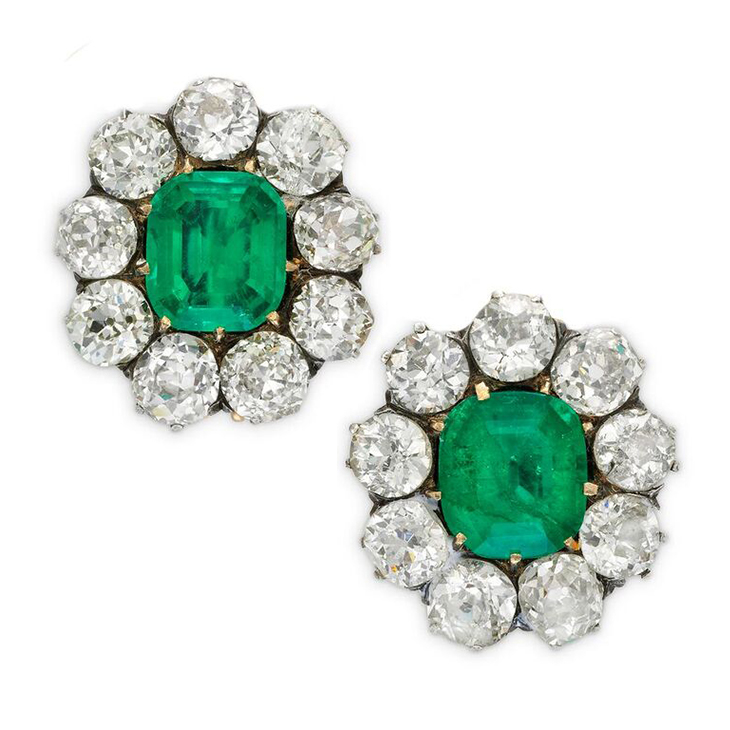 A Pair Of Antique Emerald And Diamond Cer Earrings