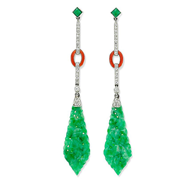 A Pair of Art Deco Enamel and Jade Ear Pendants, circa 1925