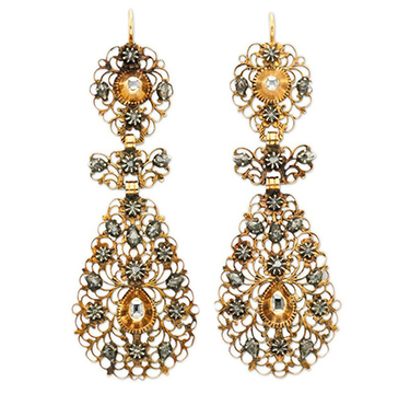 A Pair of Antique Table and Old European-cut Diamond and Gold Ear Pendants