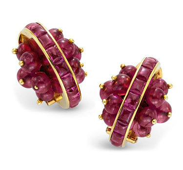 A Pair Of Ruby And Gold Ear Clips, By Boivin, Circa 1933