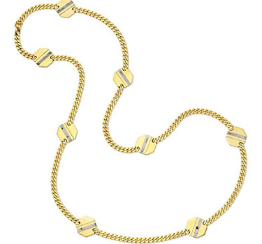 A Hematite And 18k Gold Plaque Long Chain Necklace, By Bulgari