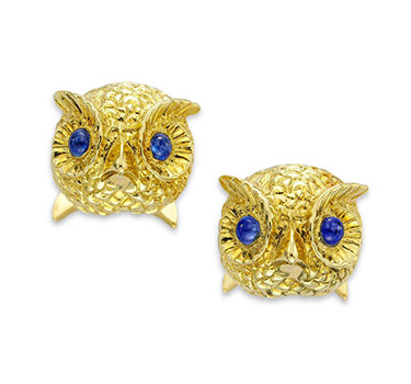 A Pair Of Sapphire And Gold Owl Cufflinks