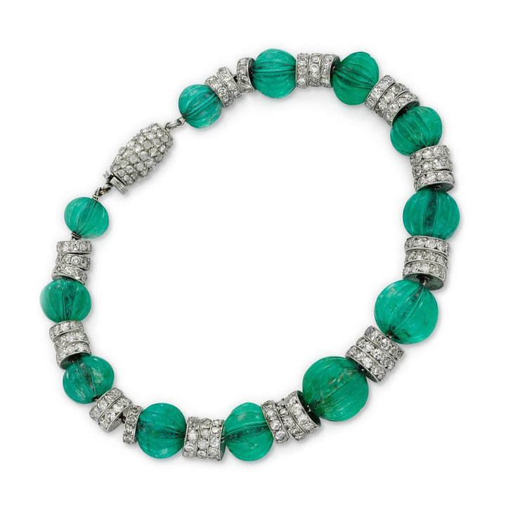 An Art Deco Emerald Bead and Diamond Bracelet, by Cartier, circa 1925