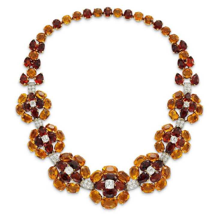 A Retro Citrine and Diamond Necklace, by Cartier, circa 1935