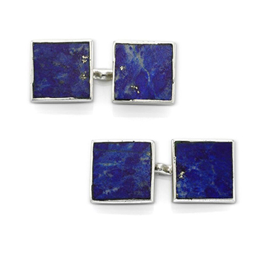 A Pair of Lapis Lazuli and Platinum Cufflinks, by Cartier, circa 1920