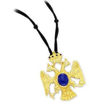 A Lapis Lazuli, Diamond and Gold Double Headed Eagle Pendant, circa 1970