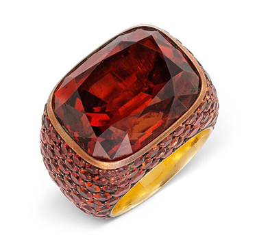 A Garnet and Sapphire Ring, by Hemmerle