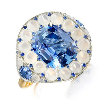 A Ceylon Sapphire And Agate Ring, By SABBA