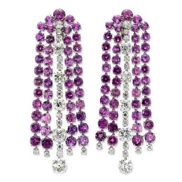 A Pair of Pink Sapphire and Diamond Ear Pendants, by SABBA