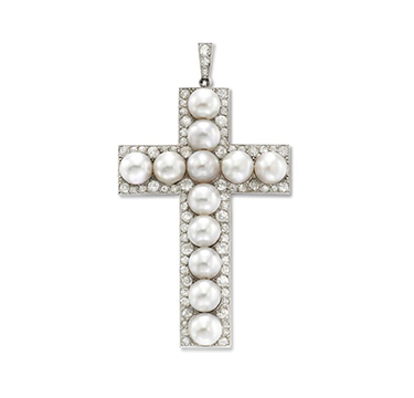 A Natural Pearl and Diamond Cross Pendant, circa 1920