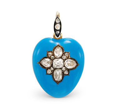 An Antique Enamel And Diamond Heart Pendant, Circa 1900