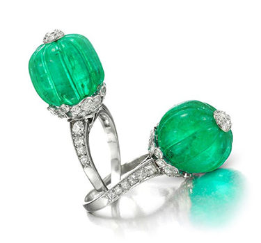 A Pair Of Emerald Bead And Diamond Rings