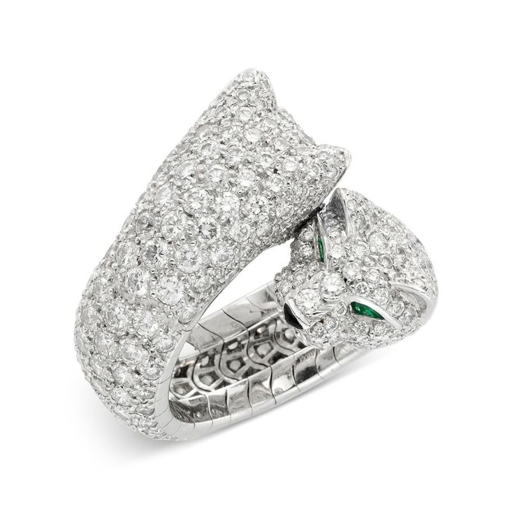 A Panther Diamond and Emerald Ring, by Cartier