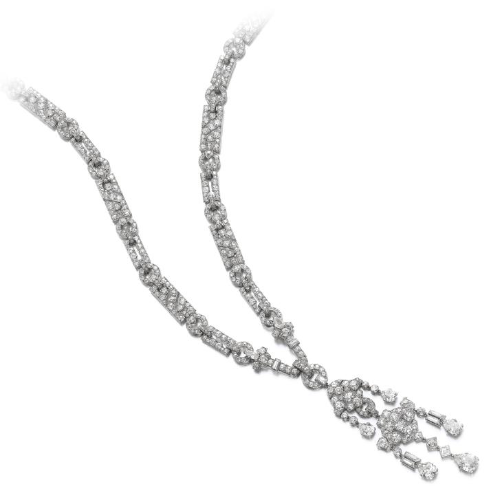 Art Deco Diamond Sautoir Necklace, by Cartier, circa 1920