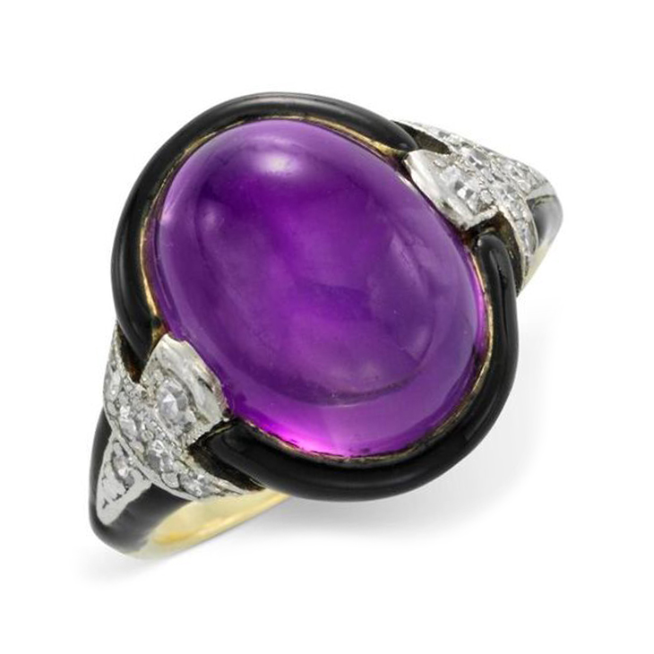 An Art Deco Amethyst, Enamel and Diamond Ring, circa 1920