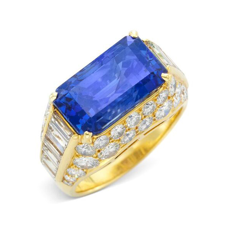 A Ceylon Sapphire and Diamond 'Trombino' Ring, circa 1960