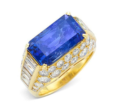 A Ceylon Sapphire And Diamond 'Trombino' Ring, Circa 1960
