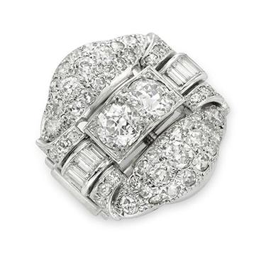 An Art Deco Old European and Baguette-cut Diamond Bombe Ring, circa 1925