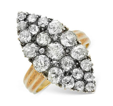 An Antique Old Mine Diamond Cluster Ring, Set In Silver And Gold