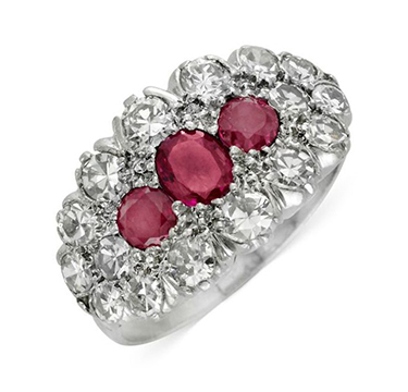 An Early 20th Century Ruby and Diamond Plaque Ring