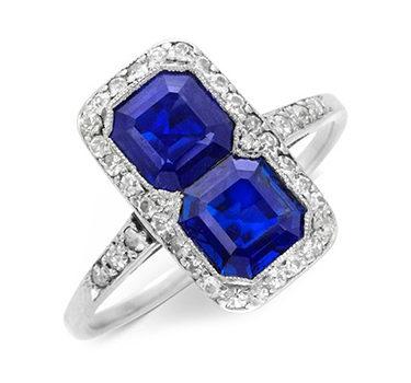 An Art Deco Sapphire And Diamond Twin Stone Ring, Circa 1920