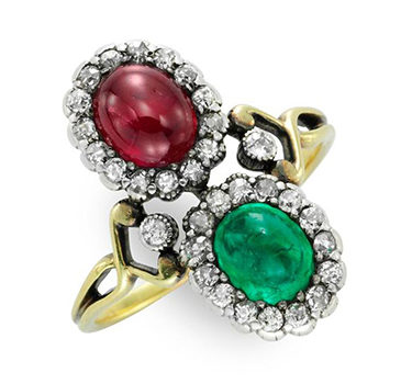 An Antique Ruby, Emerald And Diamond Twin Stone Ring