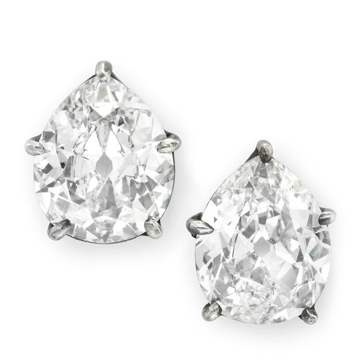 A Pair of Old Pear-shaped Diamond Stud Earrings, weighing 1.78 and 1.81 carats