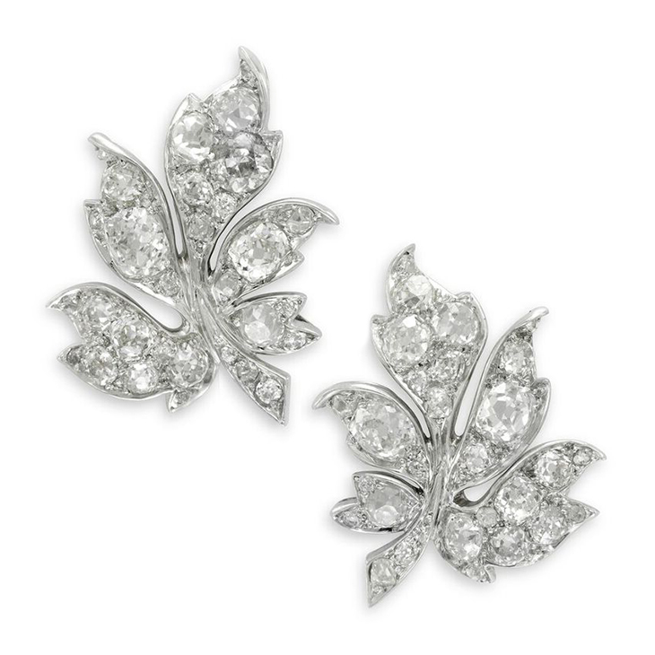 A Pair of Early 20th Century Diamond Leaf Ear Clips