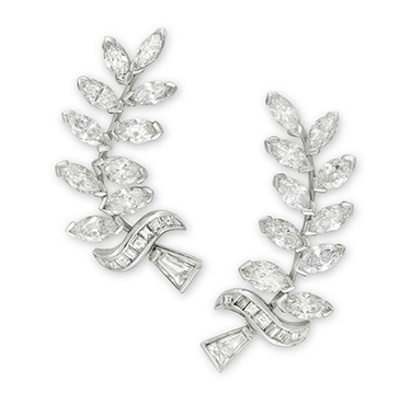 A Pair of Marquise, Baguette and Square-cut Diamond Ear Clips
