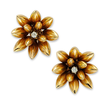 A Pair of Retro Gold and Diamond Flower Ear Clips, circa 1945