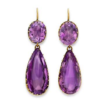 A Pair of Antique Amethyst and Gold Ear Pendants