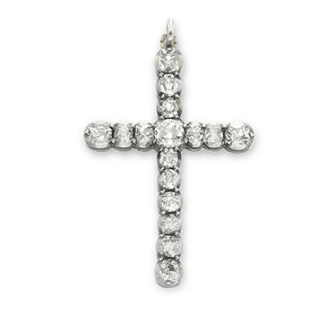 An Antique Old European-cut Diamond Roman Cross Pendant