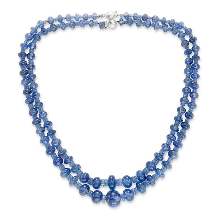 A Pair of Early 20th Century Sapphire Bead Necklaces