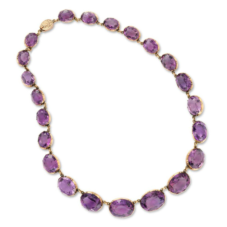An Antique Amethyst and Gold Riviere Necklace