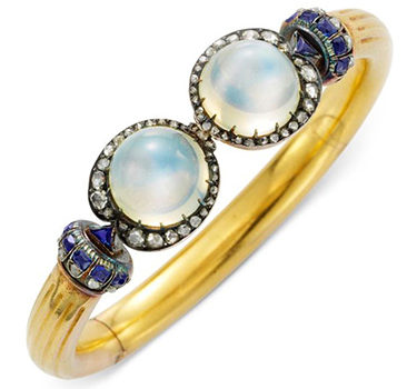 An Antique Moonstone, Sapphire And Diamond Cuff Bracelet, Circa 1880