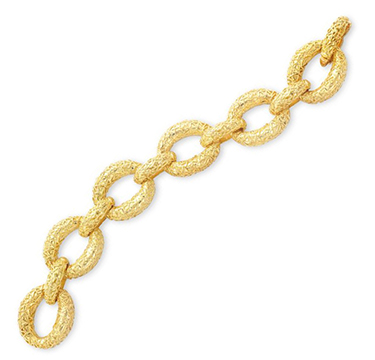 A Textured Gold Oval Link Bracelet, By Van Cleef & Arpels, Circa 1970