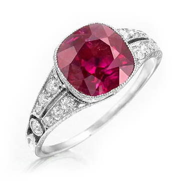 An Early 20th Century Burmese Cushion-cut Ruby and Diamond Ring, circa 1925
