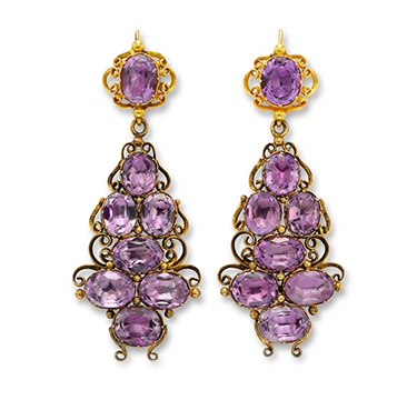 A Pair of Antique Amethyst and Gold Ear Pendants, circa late 19th Century