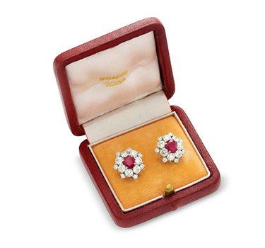 A Pair Of Burmese Ruby And Diamond Cluster Ear Clips, By Bulgari, Circa 1950