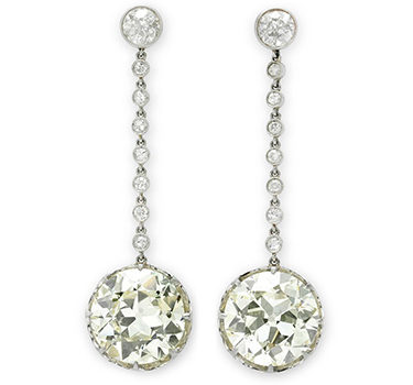 A Pair Of Old European-cut Diamond Drop Ear Pendants, Weighing 8.78 And 9.61 Carats