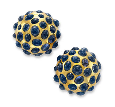 A Pair Of Cabochon Sapphire And Gold Bombe Ear Clips, Circa 1940