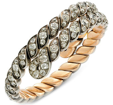An Antique Old European Diamond Curbed Bracelet, Circa 1890