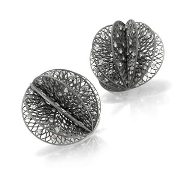 A Pair Of Diamond And Titanium Ear Clips, By SABBA
